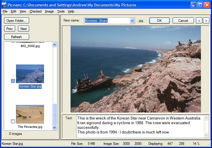 Rename digital photos quickly and easily. Add comments in text files.